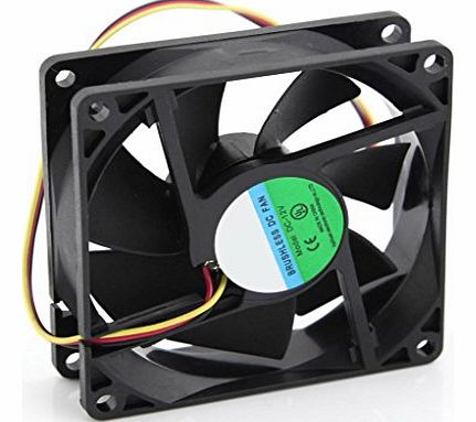 DC 12V 3Pin 80mm 8cm PC CPU Processor Computer Case Chassis Heatsink Cooling Fan 80x25mm Black