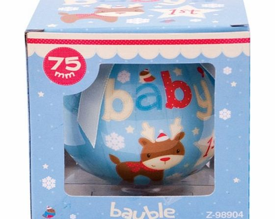 Bamboozled accessories babys first christmas blue bauble for Babys first christmas decoration