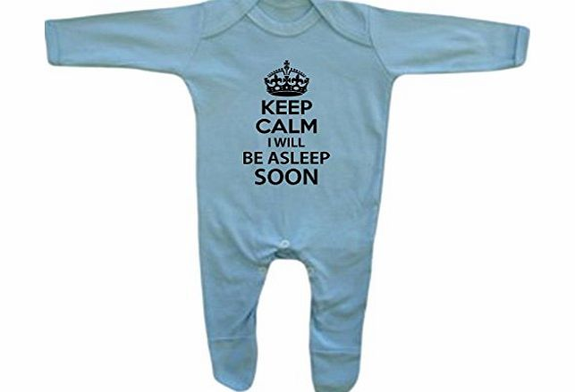 BANG TIDY CLOTHING  Baby Boys Keep Calm I Will Be Asleep Soon Rompersuit 3-6M Light Blue