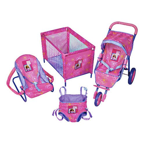Papoose Chair Barbie 3 Wheel Baby Dolls Travel Set - Pushchair- Cot ...