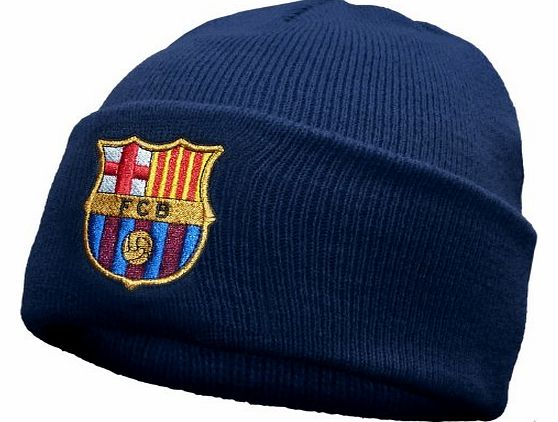 FC Barcelona Official Football Gift Knitted Bronx Beanie Hat Navy (RRP �9.99!)