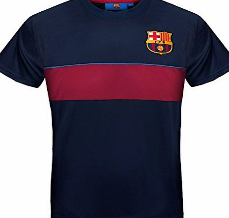 Barcelona F.C. FC Barcelona Official Gift Mens Poly Training Kit T-Shirt Navy Stripe Medium