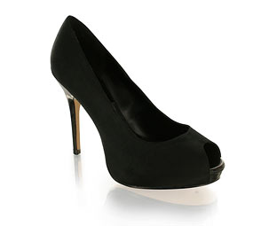 Black Gardenia Satin Peep Toe Platform- Sizes 1-2