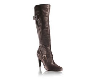 leather knee high boots with buckle and chain detail the