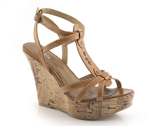 Leather T-Bar Wedge Sandal