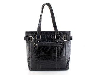 Patent Shoulder Bag With Croc Effect