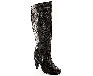 Barratts Sassy Scrunched Leather Effect Knee High Boot