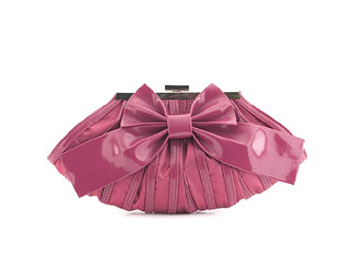 Satin Clutch Bag With Bow Detail