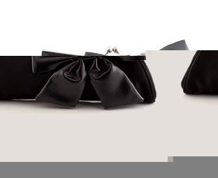 Satin Clutch Bag With Bow Trim