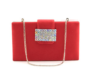 Satin Clutch With Jewel Trim