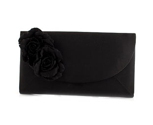 Satin Corsage Trim Clutch Bag