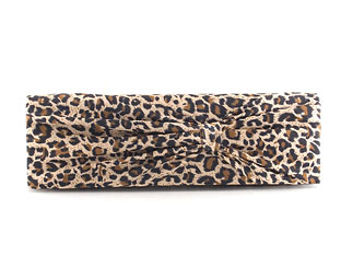 Satin Leopard Print Clutch Bag