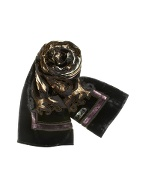Black Paisley Patterned Devore Velvet Long Scarf