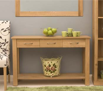 Baumhaus Maban Solid Oak 3 Drawer Console Table