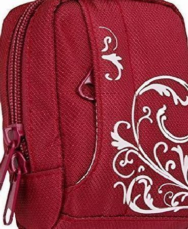 Baxxtar  MANGA IV Digital Camera Bag Case * Red / White * for Canon PowerShot SX720 SX710 SX610 SX620 - Nikon Coolpix W100 S33 S9700 - Samsung WB800F WB850F WB150F WB250F WB350F -- Panasonic Lumix DMC