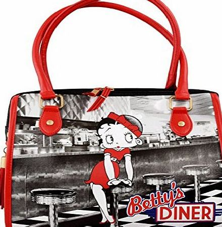 BB Designs Betty Boop Handbag - Bettys Diner Design Bowler Bag/Bowling Bag - Retro Bag - Official Licensed Product