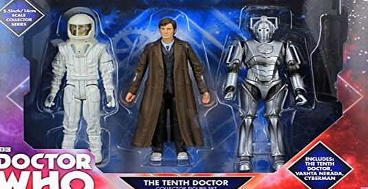 BBC Doctor who 10th doctor with long coat vashta nerada and cyberman figure collection