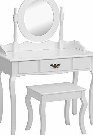 Beautify Dressing Table, Stool and Mirror Bedroom Vanity Set with Drawer - White