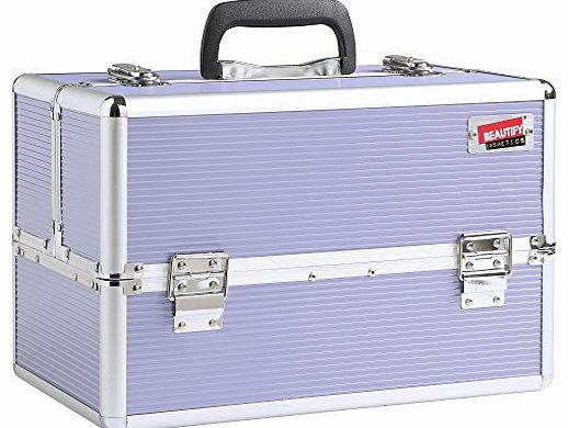 Professional Large Lush Lilac Aluminium 8 compartment Beauty Box Cosmetics & Make Up Case