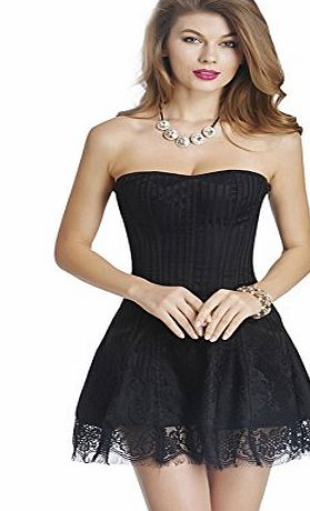 Beauty Lover Black Fahion Jacquard Corset Style Bodice Corset Top Bustier Skirt Dress