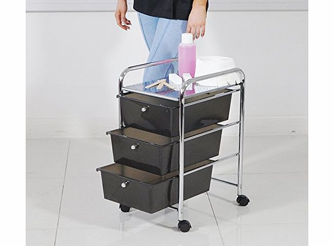 Beauty4Less HEAVEN� Black Storage Trolley Storage with Three Drawers product image