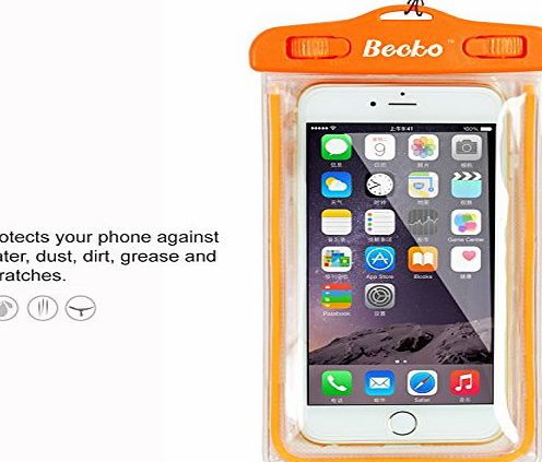 Becko Orange Fluorescence Waterproof Case Touch Responsive Front and Back, Universal Waterproof Wallet, Dry Bag, Pouch for 5.5`` Mobile Phone, IPhone 6 Plus, 6, 5, 5s, 4, Samsung Galaxy S4, Samsung Not