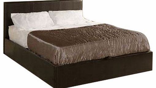 Madrid Brown 4ft 6in Double Faux Leather Ottoman Storage Gas Lift Bed