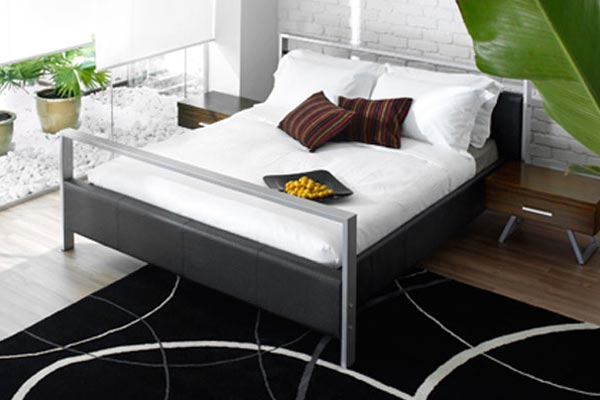 double bed and promo mattress budget faux leather double. Black Bedroom Furniture Sets. Home Design Ideas