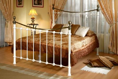Bedworld Discount Kelso Cream Metal Bed Frame Double 135cm