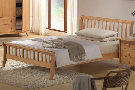 Leo bed from bedworld is a traditional designed wooden bed with a contemporary twist sitting low t - Low sitting bed frame ...