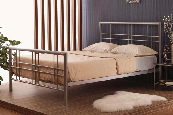 Bedworld Discount Metro Silver Metal Beds Kingsize 150cm