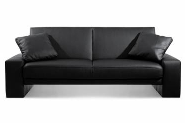 Bedworld Discount Supra Black Faux Leather Sofa Bed