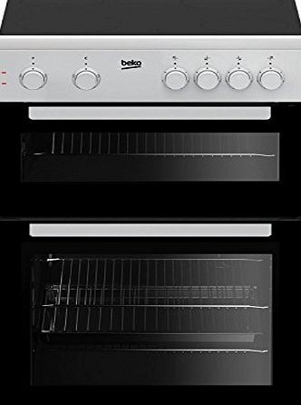 Beko KTC611W 60cm A Rated Twin Cavity 4 Burners Ceramic Electric Cooker in White