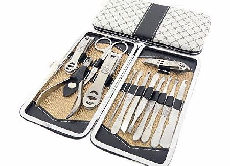 Belle 13 Pieces Stainless Steel Nail Clippers Tweezers Manicure Pedicure Tools Set Kit With A Beautiful Wallet/Case, for Thick Hard Nails, onychomycosis, ingrown Nail, paronychia,the Best Gift Idea, Fast Sh product image