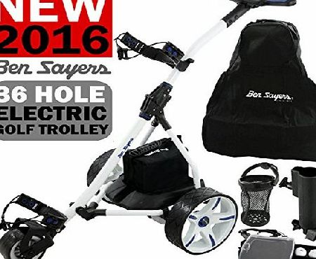 Ben Sayers ``NEW 2016`` BEN SAYERS WHITE ELECTRIC GOLF TROLLEY   36 HOLE BATTERY amp; CHARGER