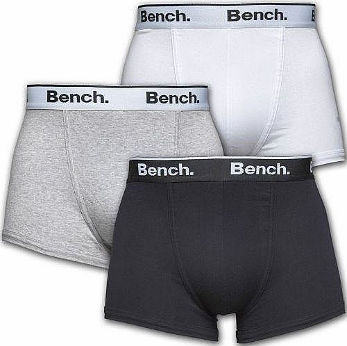 Bench Mens Bench Three Pack Trunks Black/White/Grey Guys Gents (S Fit Waist 29-32`` (73-82cm)) product image