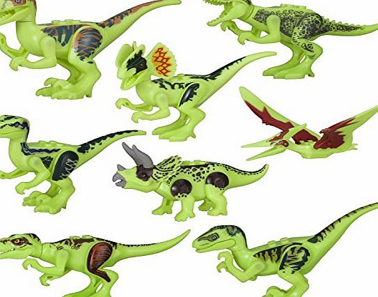 BeneGlow 8 Set Lifelike Luminous Mini Dinosaur Building Block Figures Toy (One Size, Luminous)