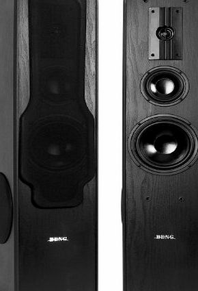 Beng E1005 Floor Standing Speakers (360W RMS, 3-Way amp; Bass Reflex Design) - Black Ash