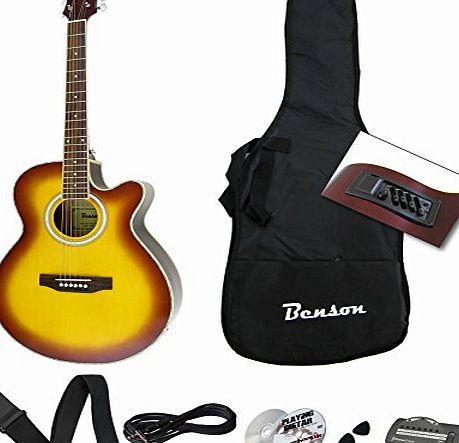 benson electro electric semi acoustic guitar package honeyburst by benson free amp review. Black Bedroom Furniture Sets. Home Design Ideas