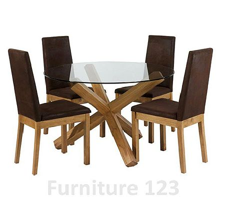 Bentley designs felix oak round dining set with 4 chairs review compare prices buy online - Round dining room chairs designs ...