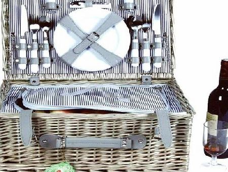 Bentley Explorer 4 PERSON WILLOW WICKER PICNIC BASKET HAMPER SET - STRIPED LINING