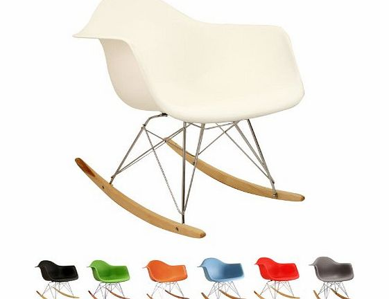Bentley Home RETRO EAMES INSPIRED RAR LOUNGE DINING ROCKING CHAIR - WHITE (MULTIPLE COLOURS AVAILABLE) product image