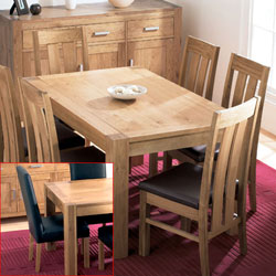 Bentley Lyon Oak Small Dining Table & 6 Large Leather product image