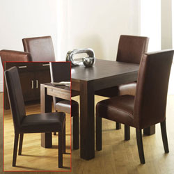 Bentley Lyon Walnut Square Dining Table & 4 Large product image