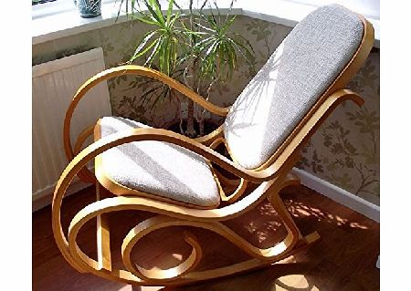 Bentwood NEW BENTWOOD PADDED SEAT ROCKING CHAIR BIRCH WOOD THONET LIVING BED ROOM CONSERVATORY MATERNITY product image