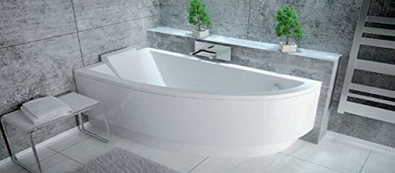 Besco PRACTICA Offset Corner Bath SPACE SAVER 1400 x 700 mm with Front Panel and Legs *LEFT HAND*