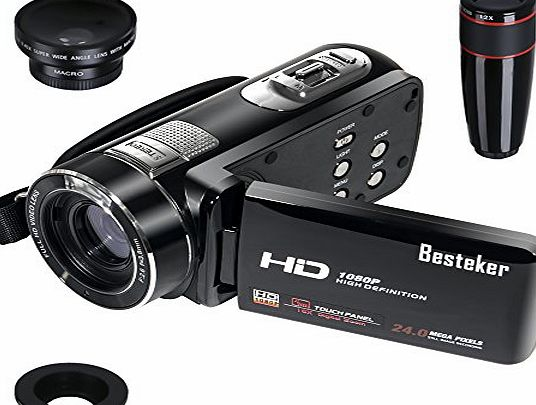 Besteker HDMI 1080p 24.0 Megapixels16X Digital Zoom Video Camcorder DV 3.0 TFT LCD Rotation Touch Screen Video Recorder with Remote Control and Face Detection Function   12x Teleconverter amp; Wide A