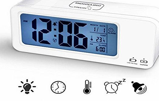 Bestfire  Digital Backlight Time Date Temperature Display Alarm Clock Repeating Snooze Touch Light Charging Multiple Alarm Bedroom Clock