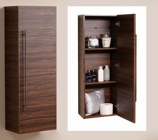 Better Bathrooms ® 120cm Wall Mounted Bathroom Tall Cabinet Wood Shelving Hung Furniture Walnut