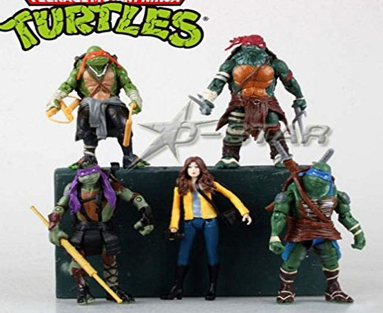 Better Toy 5pcs 6`` TMNT 2014 Movie Teenage Mutant Ninja Turtles with April PVC Action Figure Collection Toy (5pcs per set)